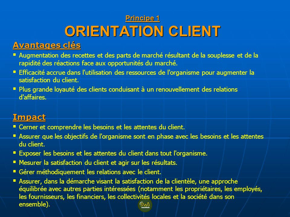 Principe 1 ORIENTATION CLIENT
