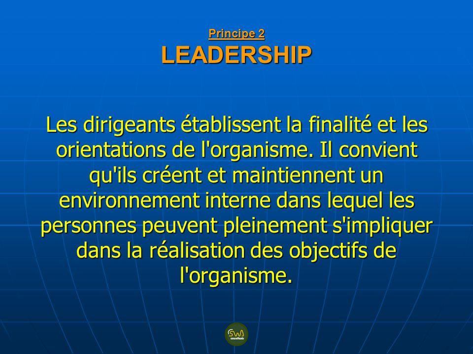 Principe 2 LEADERSHIP Les dirigeants établissent la finalité et les orientations de l organisme.