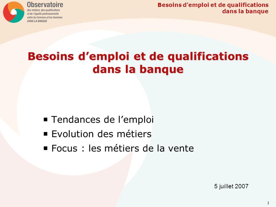 Besoins d'emploi et de qualifications dans la banque