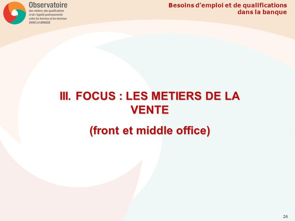 III. FOCUS : LES METIERS DE LA VENTE (front et middle office)
