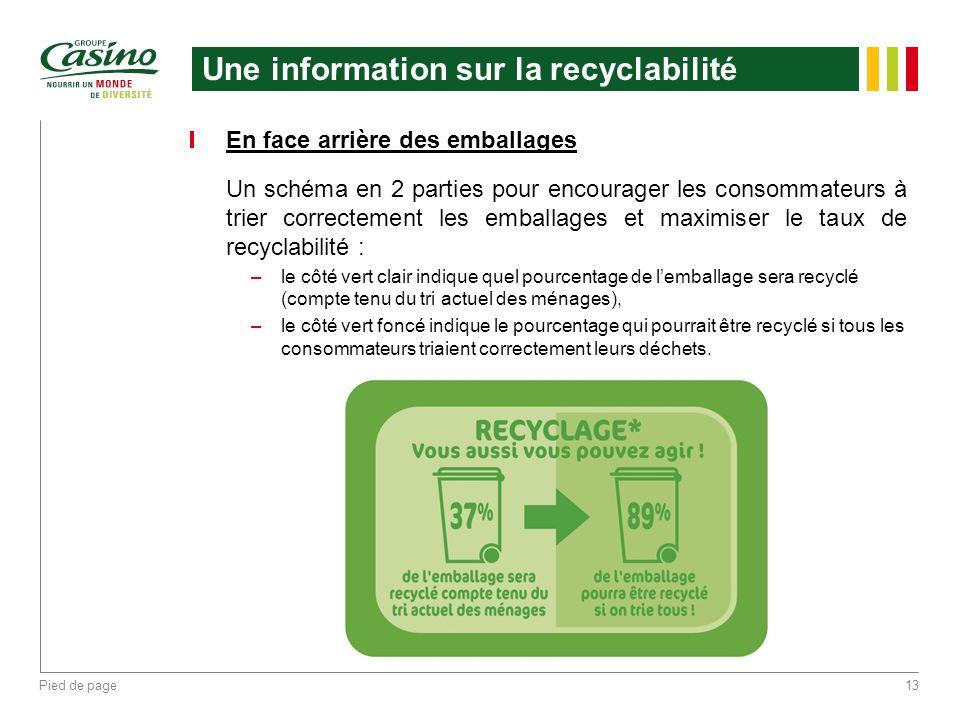 Une information sur la recyclabilité