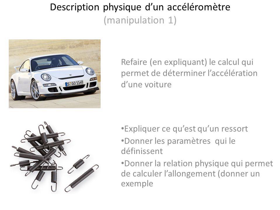 Description physique d'un accéléromètre (manipulation 1)