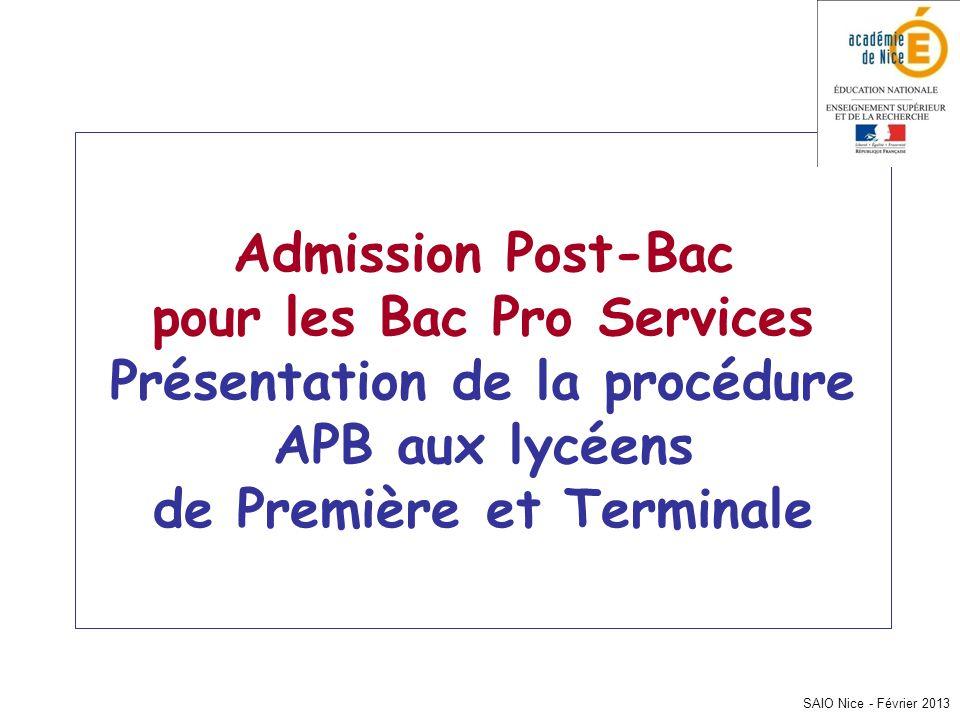 Admission Post-Bac pour les Bac Pro Services Présentation de la procédure APB aux lycéens de Première et Terminale