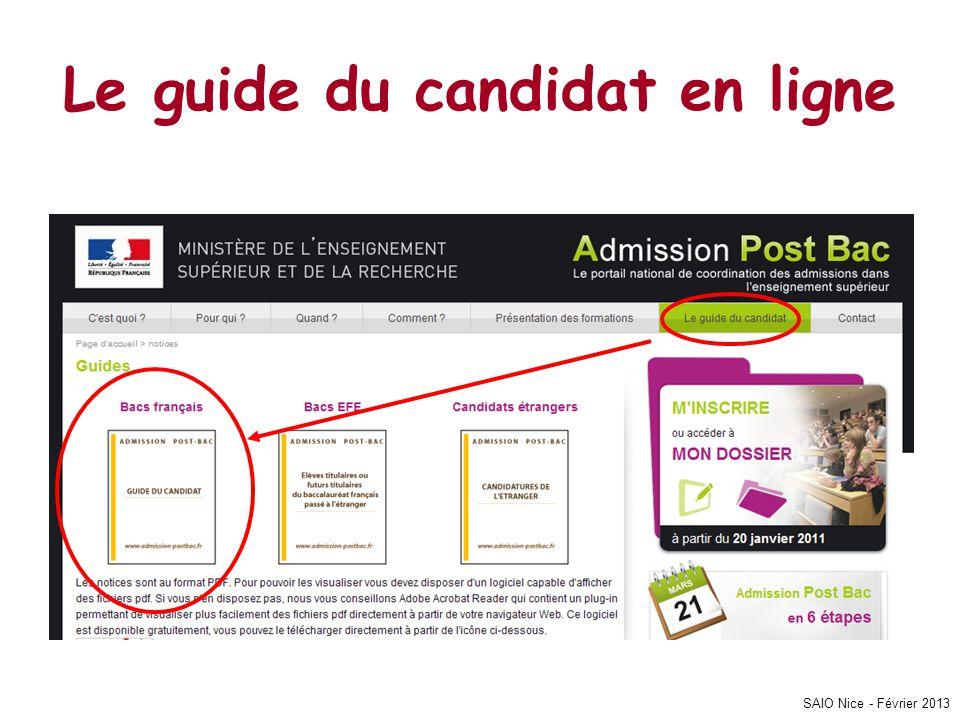 Le guide du candidat en ligne