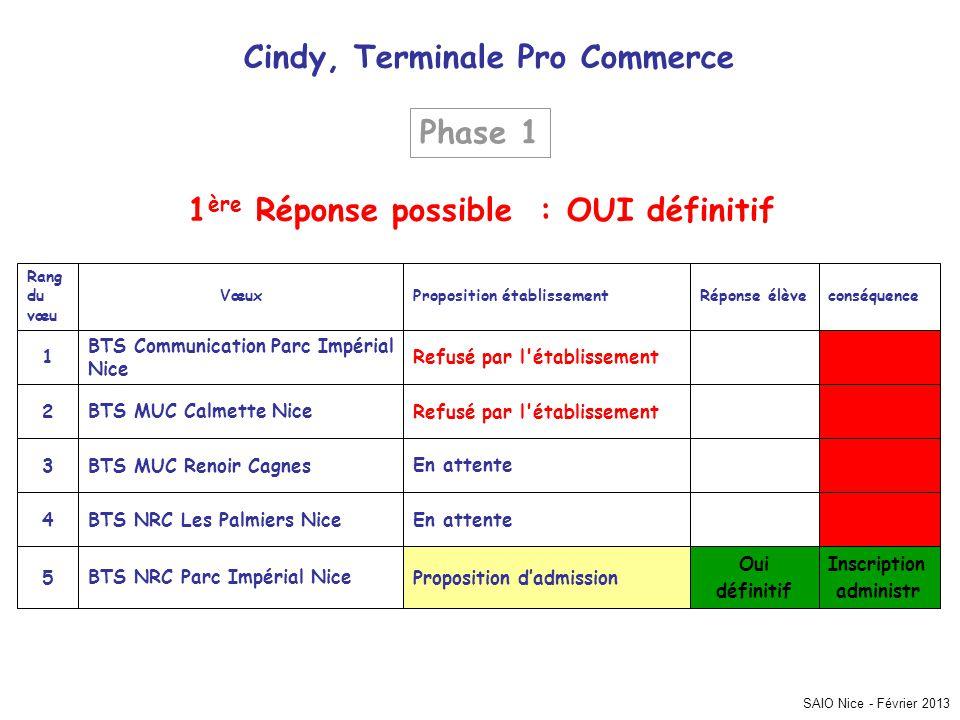 Cindy, Terminale Pro Commerce 1ère Réponse possible : OUI définitif