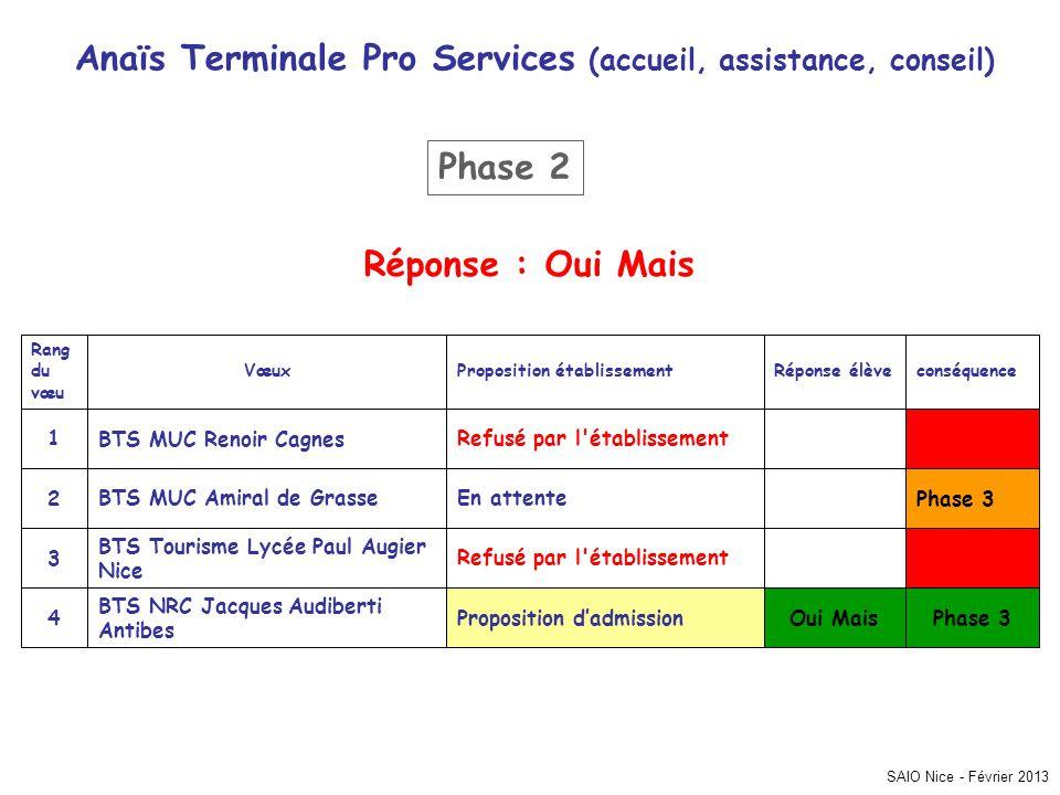 Anaïs Terminale Pro Services (accueil, assistance, conseil)
