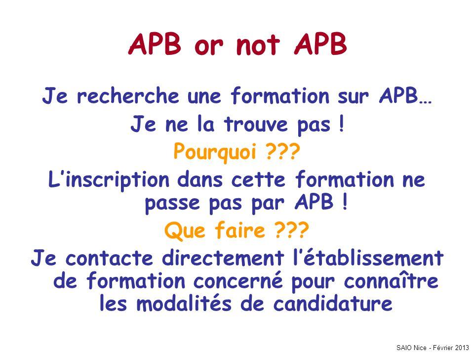APB or not APB Je recherche une formation sur APB…