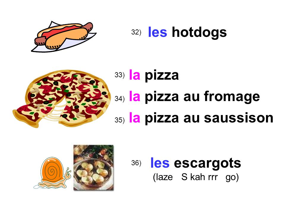 les hotdogs la pizza la pizza au fromage la pizza au saussison
