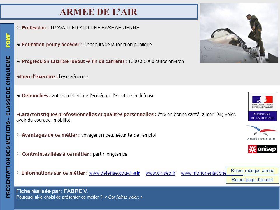 ARMEE DE L'AIR PRESENTATION DES METIERS – CLASSE DE CINQUIEME PDMF