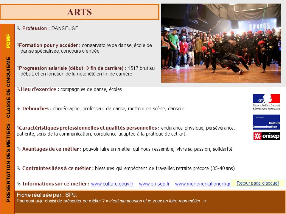 ARTS PRESENTATION DES METIERS – CLASSE DE CINQUIEME PDMF