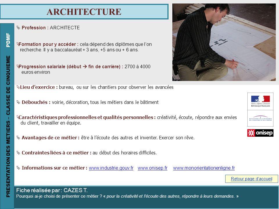ARCHITECTURE PRESENTATION DES METIERS – CLASSE DE CINQUIEME PDMF
