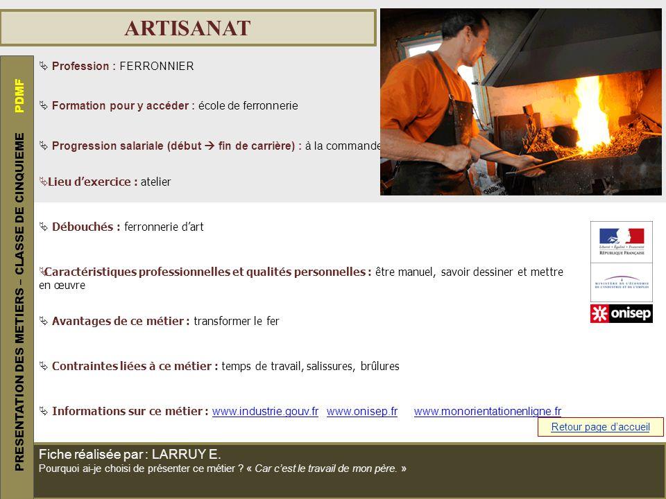 ARTISANAT PRESENTATION DES METIERS – CLASSE DE CINQUIEME PDMF