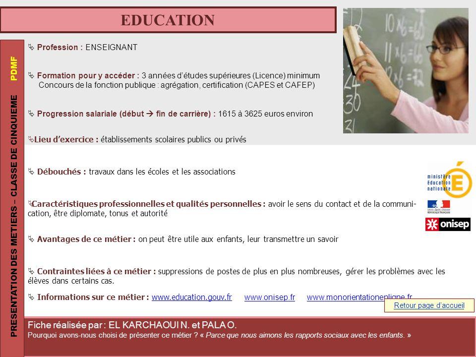 EDUCATION PRESENTATION DES METIERS – CLASSE DE CINQUIEME PDMF