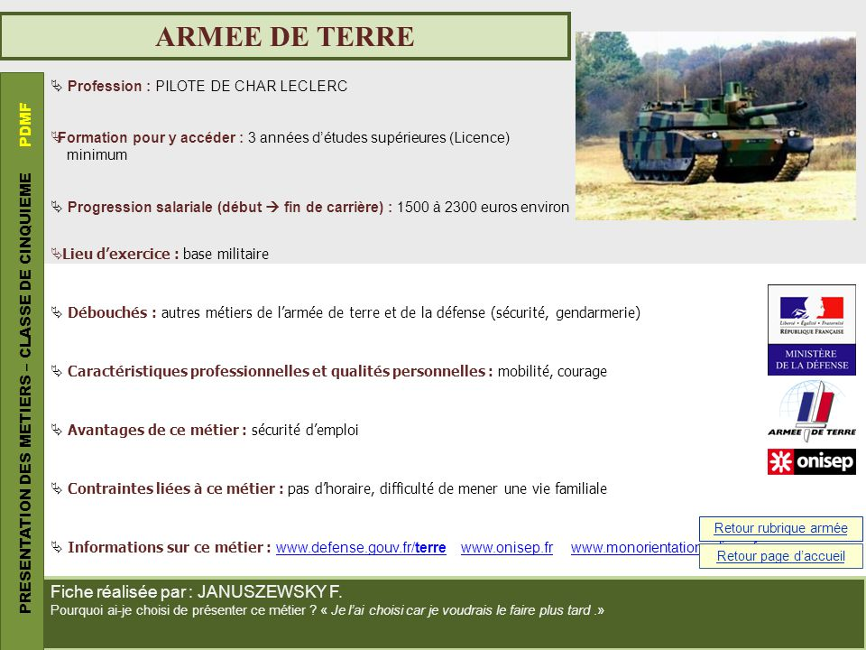 ARMEE DE TERRE PRESENTATION DES METIERS – CLASSE DE CINQUIEME PDMF