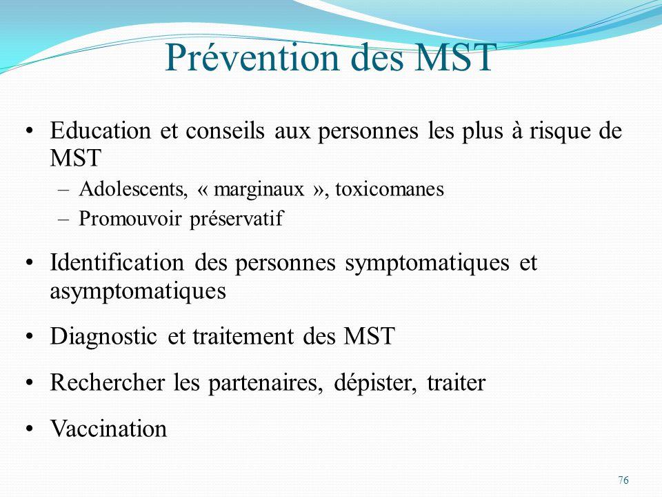 Prévention des MST Education et conseils aux personnes les plus à risque de MST. Adolescents, « marginaux », toxicomanes.