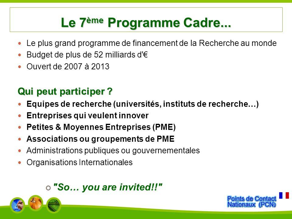 Le 7ème Programme Cadre... Qui peut participer