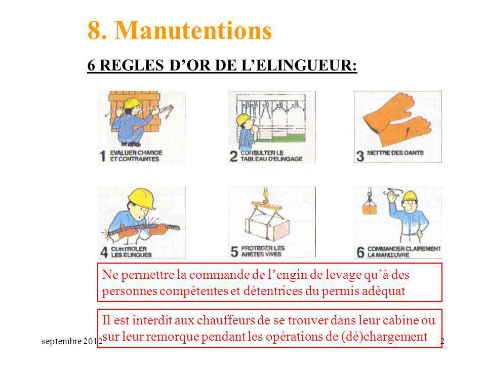 8. Manutentions 6 REGLES D'OR DE L'ELINGUEUR:
