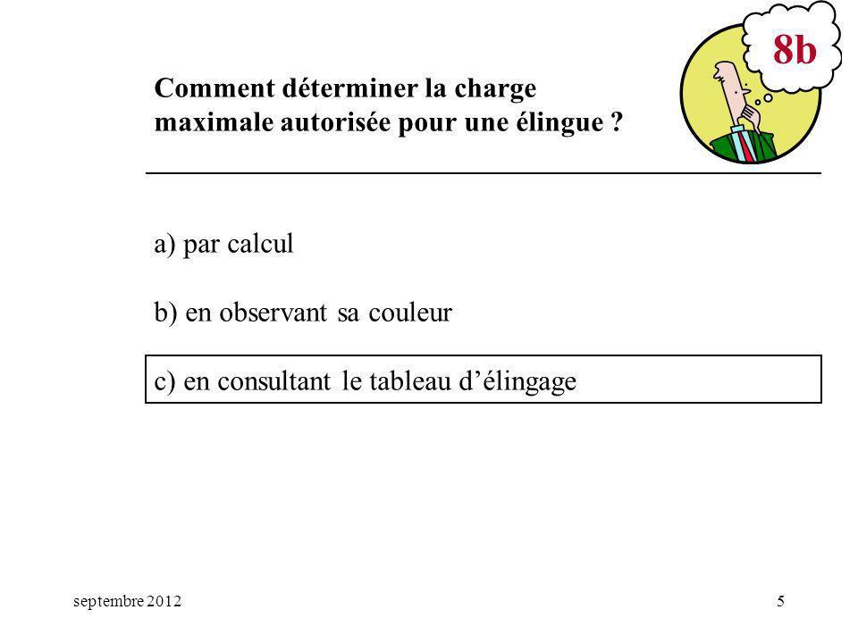 8b Comment déterminer la charge maximale autorisée pour une élingue
