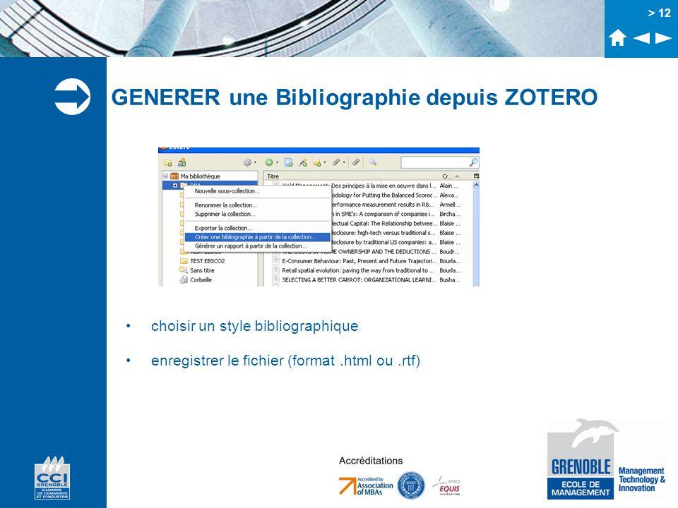 GENERER une Bibliographie depuis ZOTERO