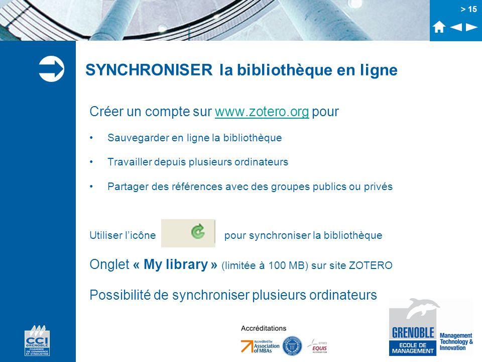 SYNCHRONISER la bibliothèque en ligne