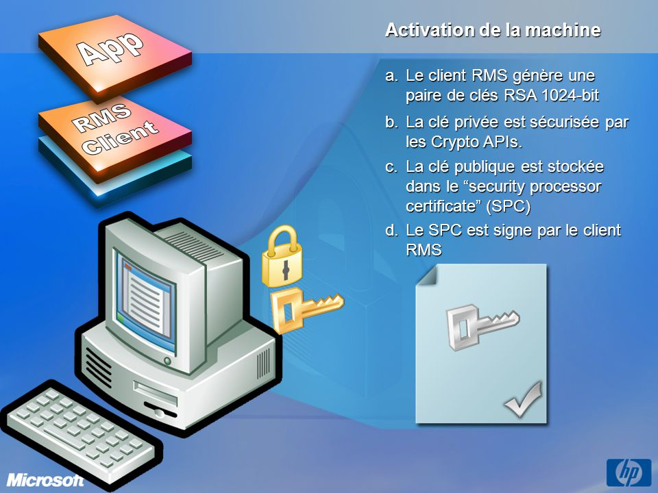 App RMS Client OS Activation de la machine