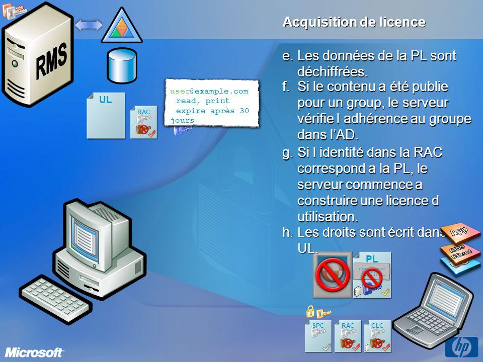 App RMS Client OS Acquisition de licence