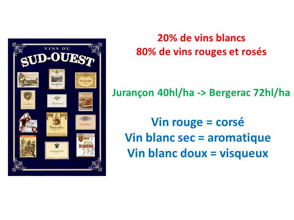 Vin rouge = corsé Vin blanc sec = aromatique Vin blanc doux = visqueux