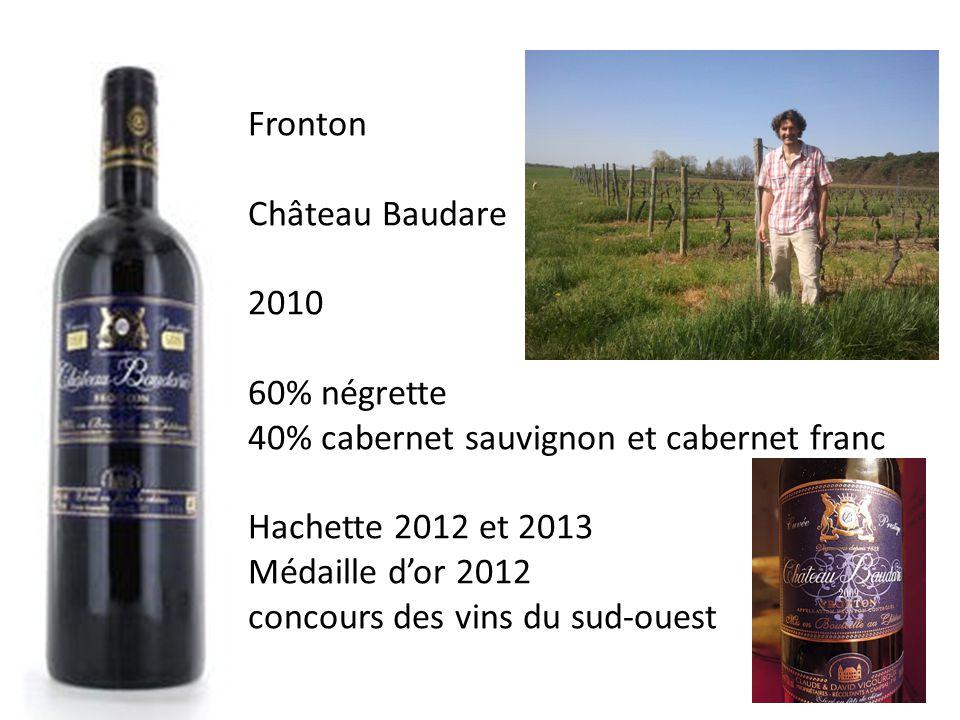 Fronton Château Baudare. 2010. 60% négrette. 40% cabernet sauvignon et cabernet franc. Hachette 2012 et 2013.