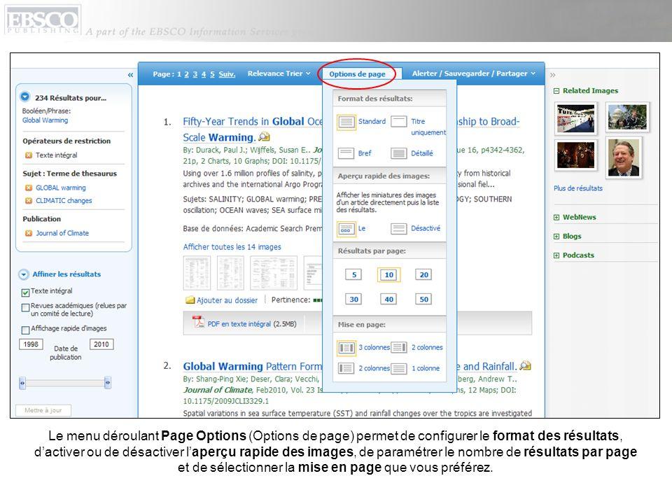 Le menu déroulant Page Options (Options de page) permet de configurer le format des résultats, d'activer ou de désactiver l'aperçu rapide des images, de paramétrer le nombre de résultats par page et de sélectionner la mise en page que vous préférez.