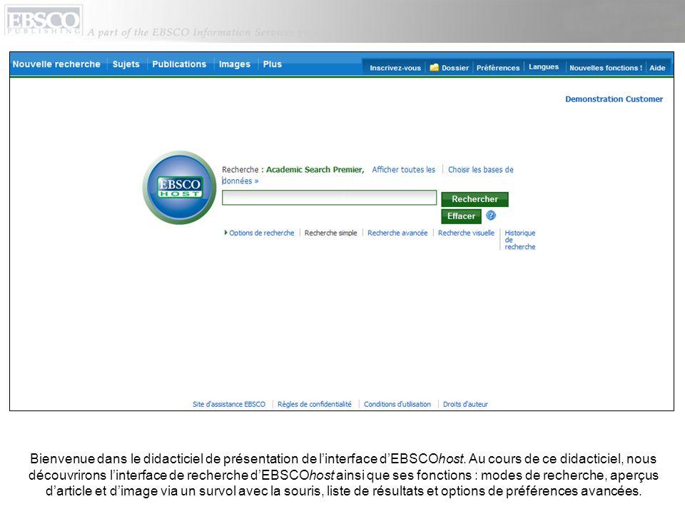 Bienvenue dans le didacticiel de présentation de l'interface d'EBSCOhost.