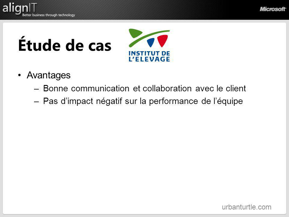 Étude de cas Avantages. Bonne communication et collaboration avec le client. Pas d'impact négatif sur la performance de l'équipe.