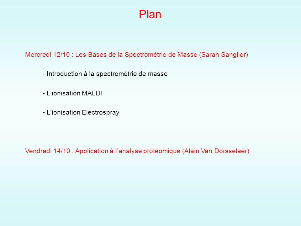 Plan Mercredi 12/10 : Les Bases de la Spectrométrie de Masse (Sarah Sanglier) - Introduction à la spectrométrie de masse.