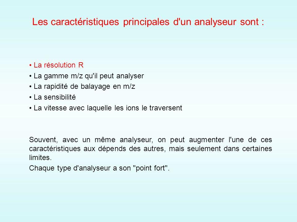 Les caractéristiques principales d un analyseur sont :