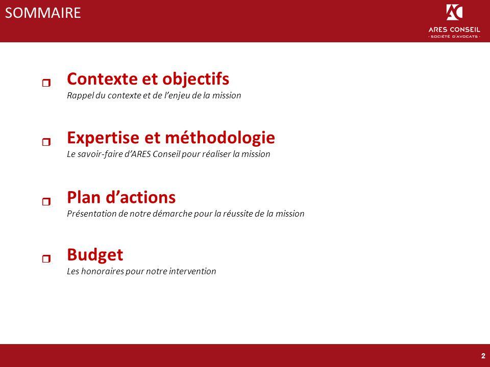 Contexte et objectifs Rappel du contexte et de l'enjeu de la mission