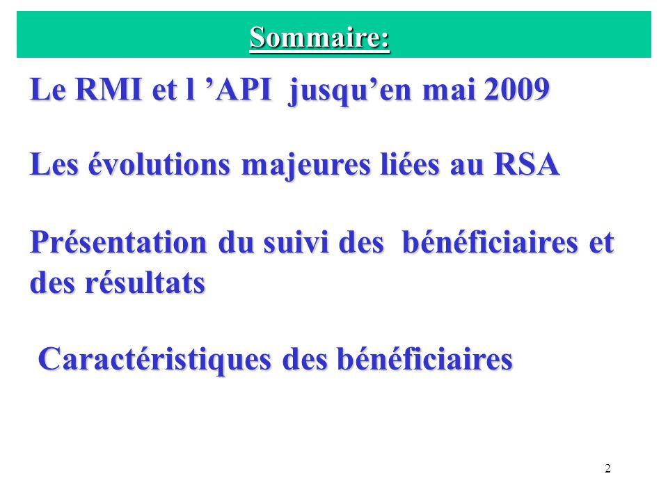 Sommaire: Le RMI et l 'API jusqu'en mai 2009. Les évolutions majeures liées au RSA. Présentation du suivi des bénéficiaires et des résultats.