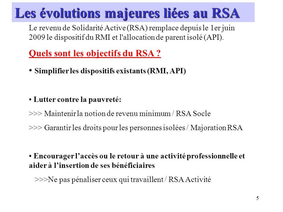 Les évolutions majeures liées au RSA