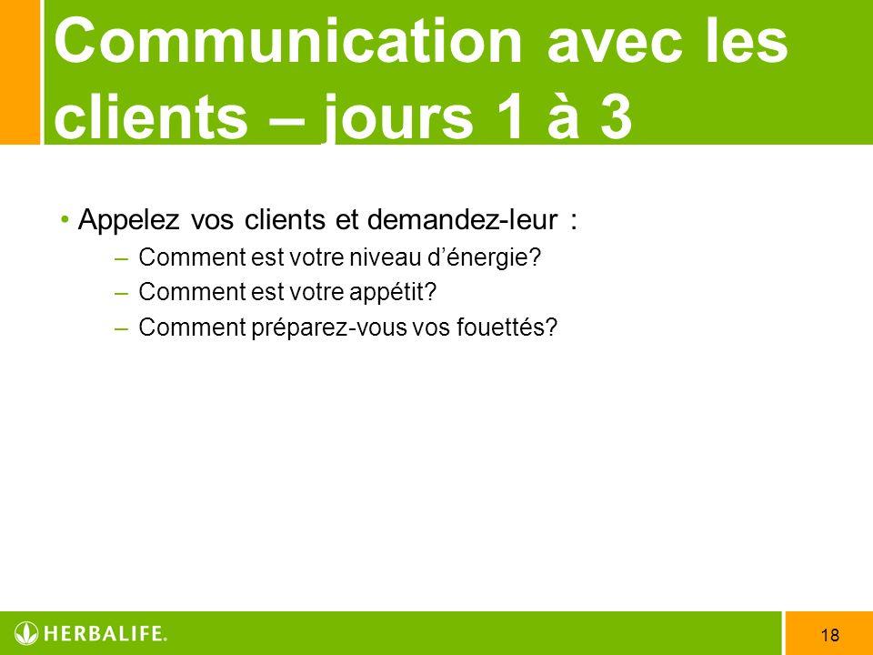 Communication avec les clients – jours 1 à 3