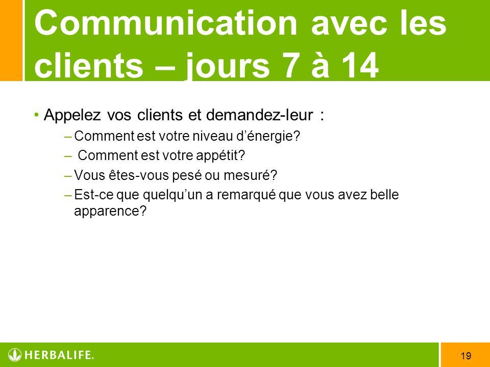 Communication avec les clients – jours 7 à 14