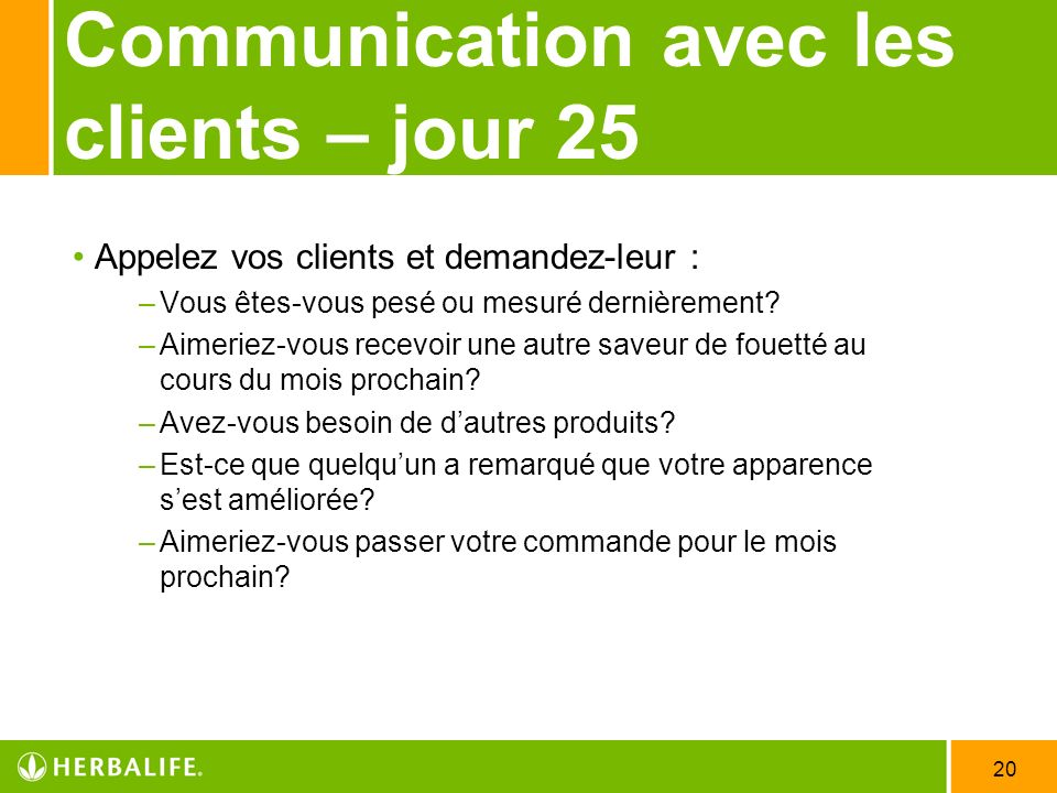 Communication avec les clients – jour 25