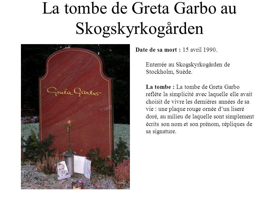 La tombe de Greta Garbo au Skogskyrkogården