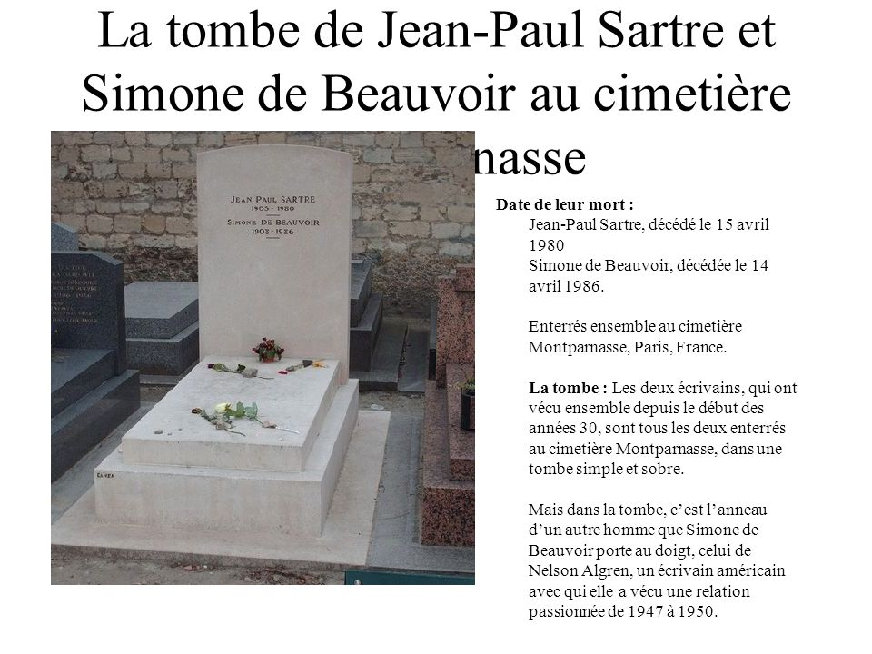 La tombe de Jean-Paul Sartre et Simone de Beauvoir au cimetière Montparnasse
