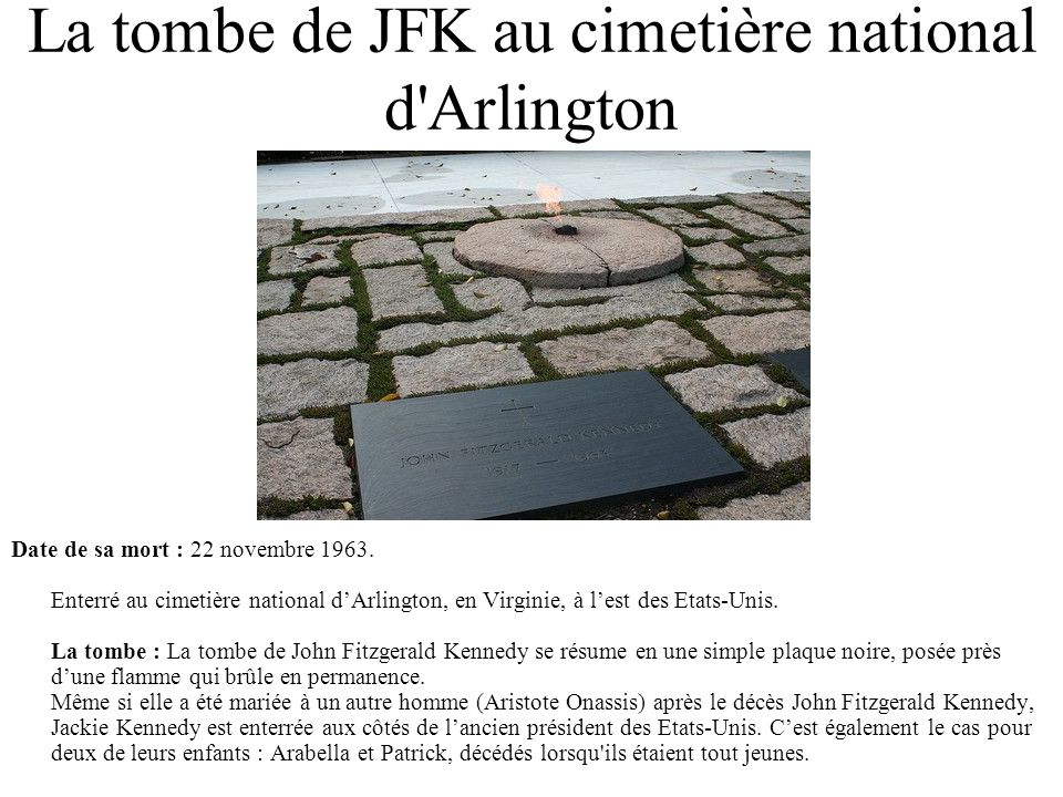La tombe de JFK au cimetière national d Arlington