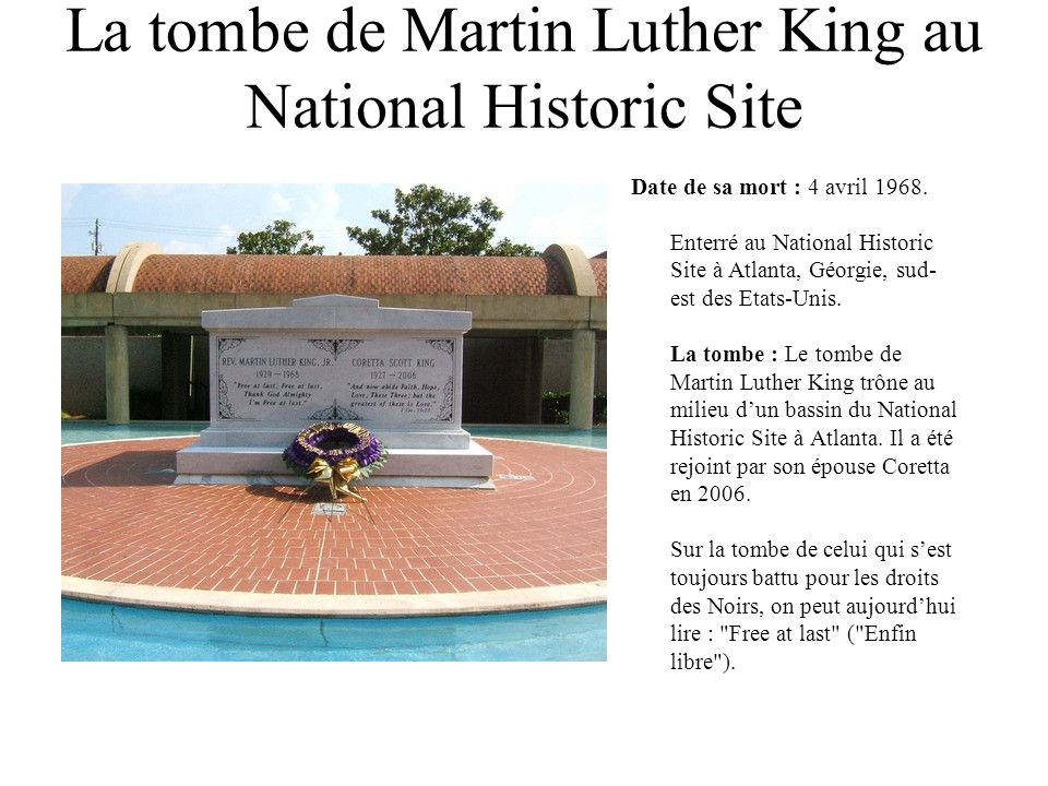 La tombe de Martin Luther King au National Historic Site