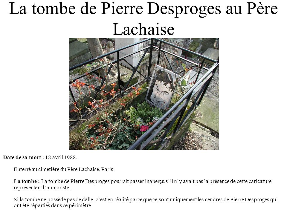 La tombe de Pierre Desproges au Père Lachaise