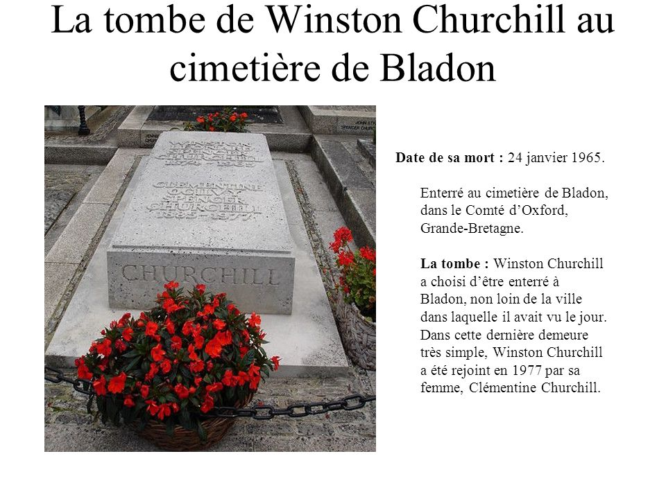 La tombe de Winston Churchill au cimetière de Bladon