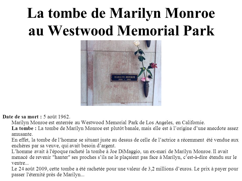 La tombe de Marilyn Monroe au Westwood Memorial Park