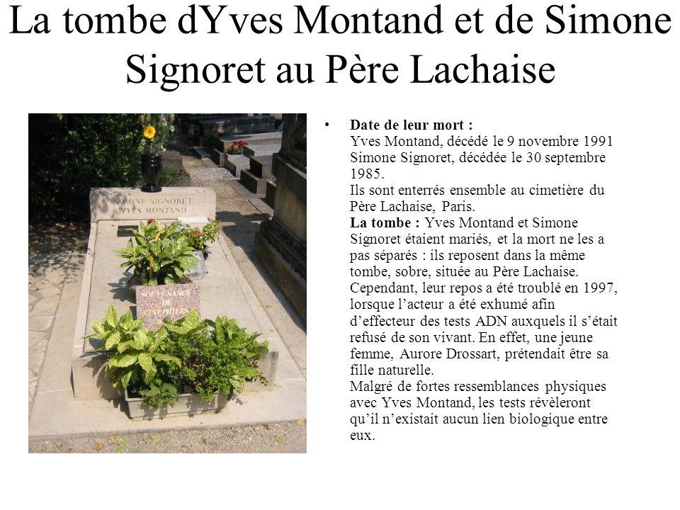 La tombe dYves Montand et de Simone Signoret au Père Lachaise