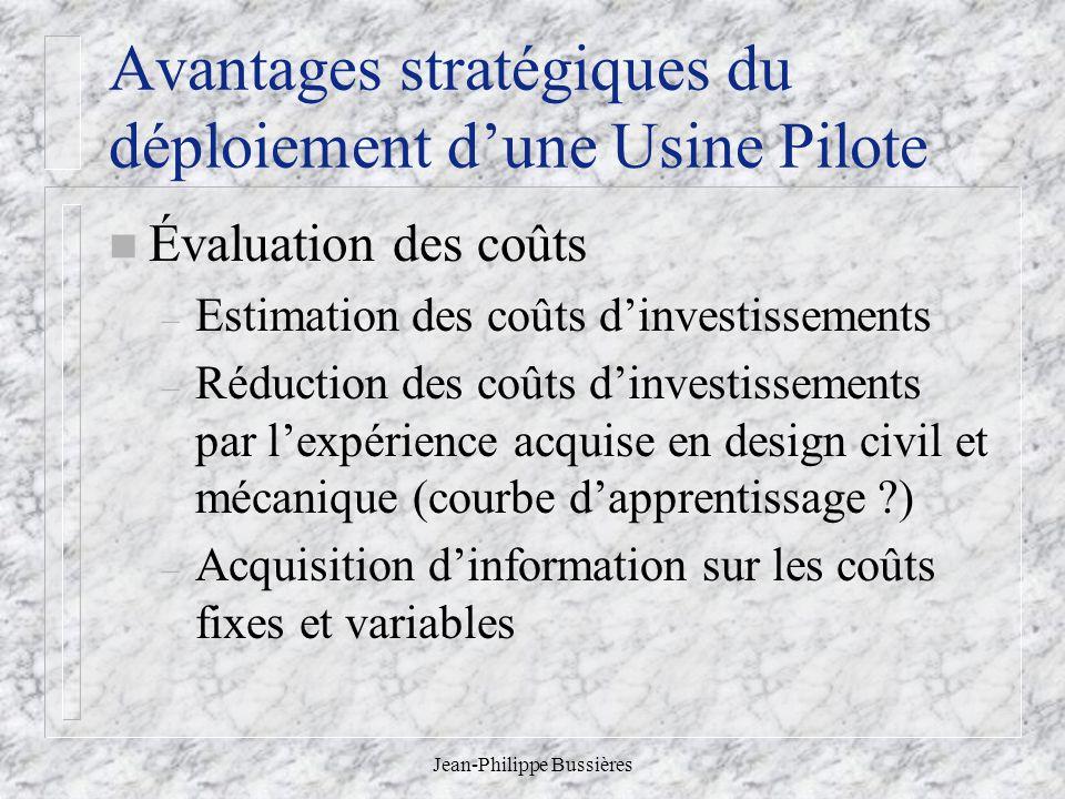 Avantages stratégiques du déploiement d'une Usine Pilote