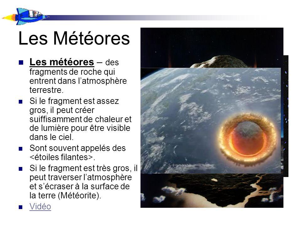 Les Météores Les météores – des fragments de roche qui entrent dans l'atmosphère terrestre.