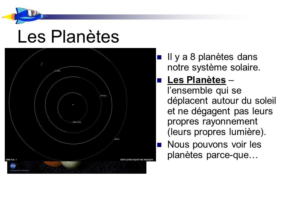 Les Planètes Il y a 8 planètes dans notre système solaire.